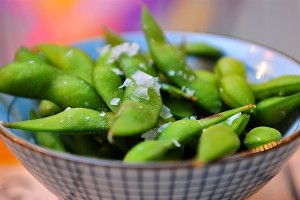 Edamame served cold with sea salt