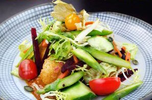 Panko Crusted Tofu Salad is just one of Tootoomoo's vegan and vegetarian dishes