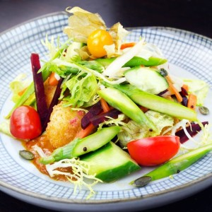 Add some mouthwatering Kappa maki to this bright and crispy Panko crusted tofu salad to make a delicious dinner for one
