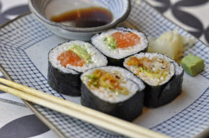 Fresh food for N2 is as easy as a Yuzu Salmon and Soft Shell Crab Maki