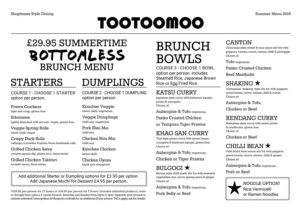 Summertime Bottomless Brunch Menu
