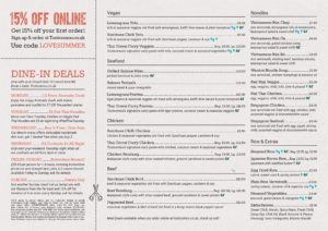 Crouch End Menu for Delivery and Collection