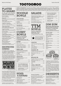 Tootoomoo Islington Summertime Food Menu